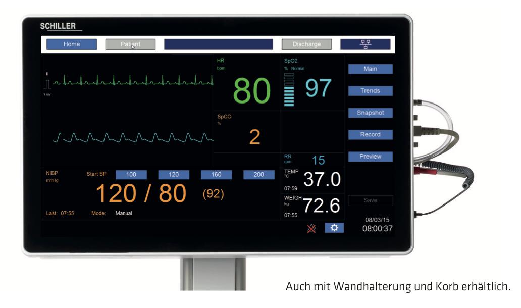Der Monitor zur Diagnostikstation DS20 mit allen Vitalparametern